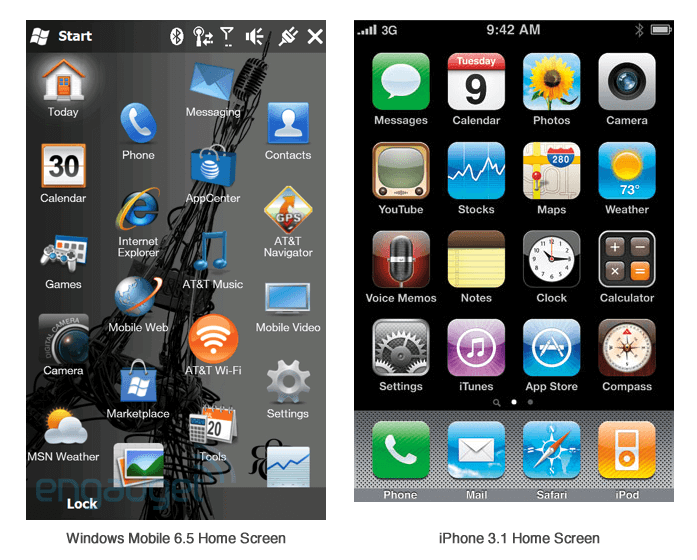 Windows 6.5 and iPhone 3.1 Home screen comparison