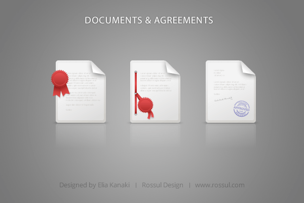 Agreements & Documents Icon Set Preview