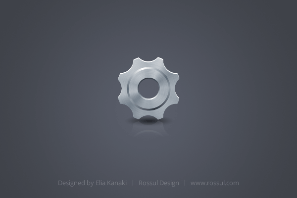 Free Gear Icon. Fully editable in Adobe FireWorks.