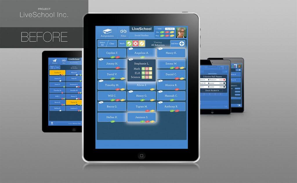 LiveSchool App Design Before Working With Rossul Design