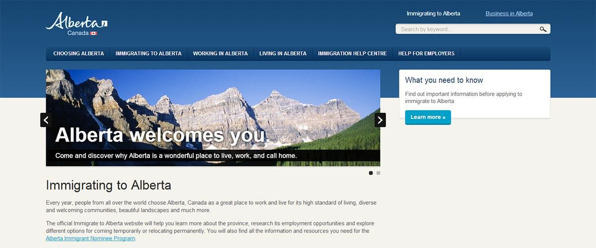 Alberta Immigration Website